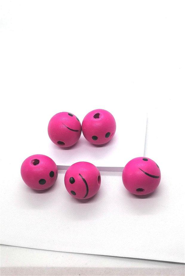 Margele rotunde lemn smiley 25mm * roz fucsia