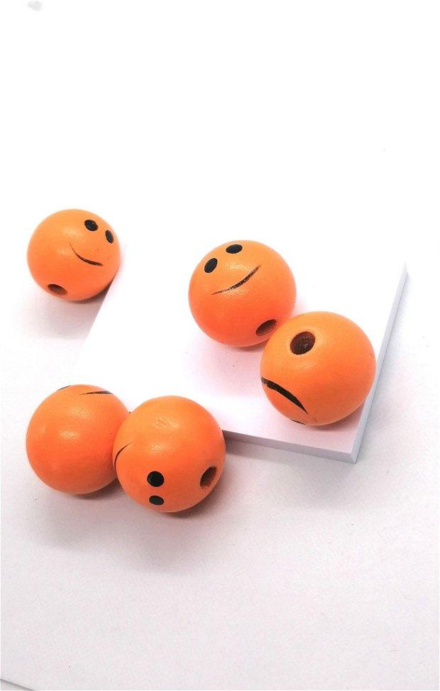 Margele rotunde lemn smiley 25mm * portocaliu