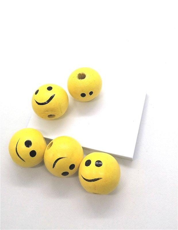 Margele rotunde lemn smiley 25mm * galben