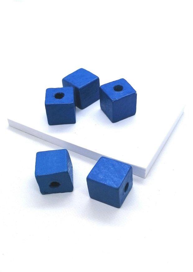 Margele cub lemn vopsit 14mm * albastru