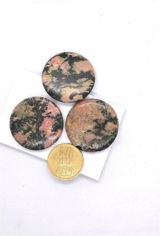 Pandantiv banut mare rotund rodonit 35mm * roz / negru