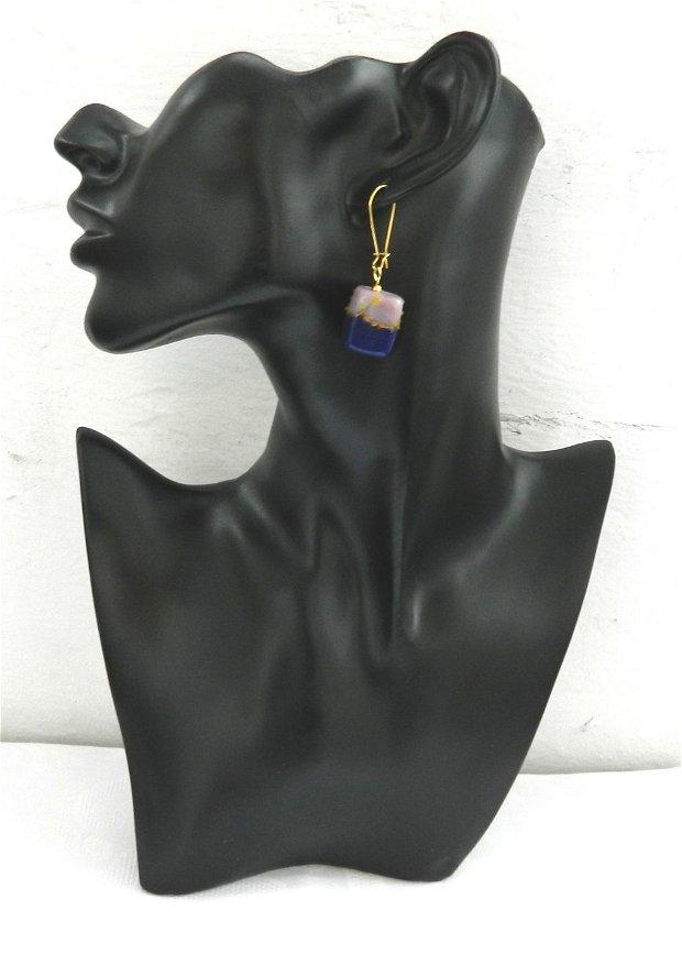 Cercei sticlă lampwork bleumarin-lila