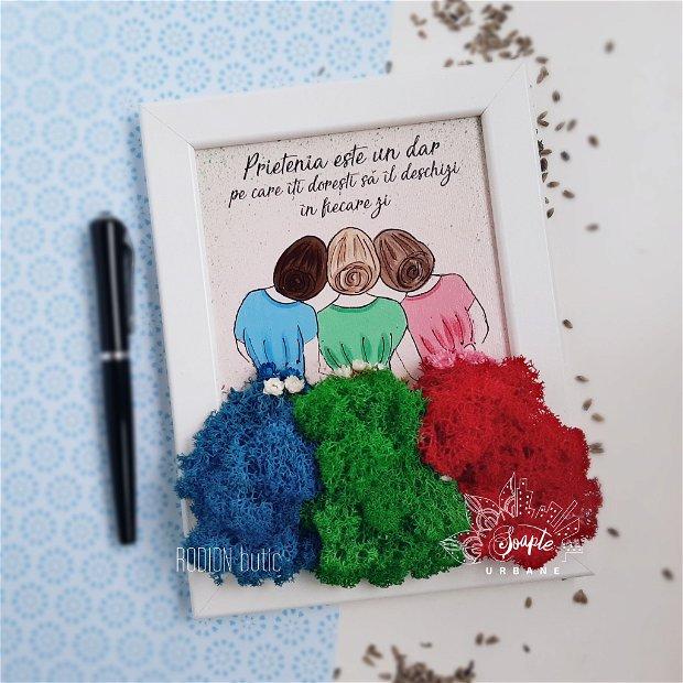 Tablou cu licheni stabilizati prietenie personalizat pictat manual