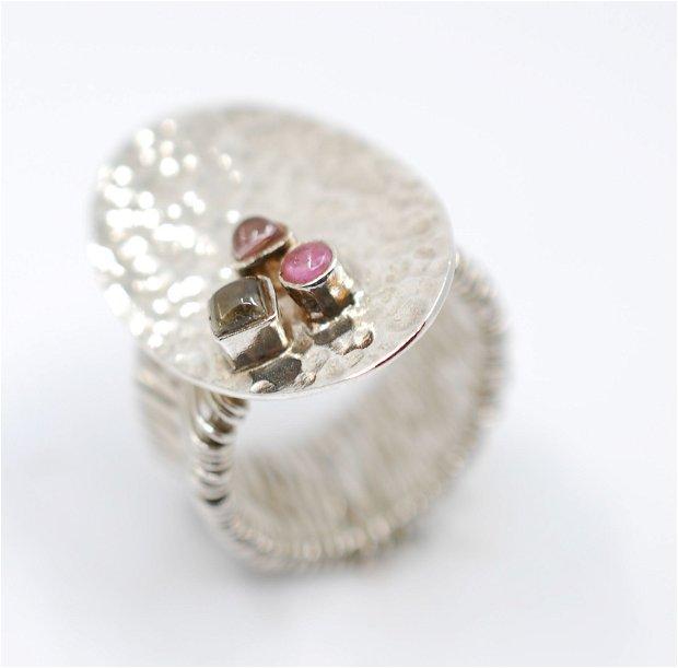 Inel din argint 925 cu turmaline colorate, inel mare, inel oval