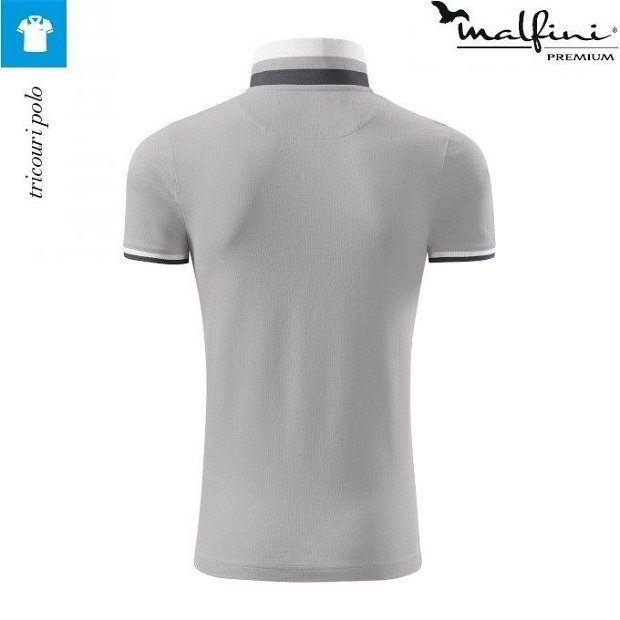 Tricou silver gray polo de barbati, Collar Up