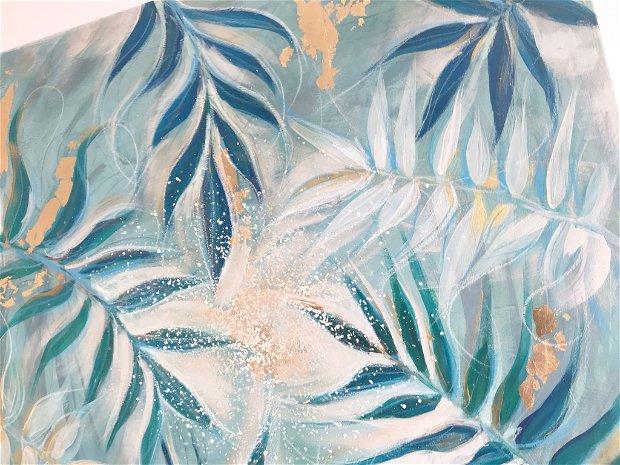 "Tablou ""Green Garden"" - Pictura cu frunze verzi - Tablou Modern - Unicat - Original art"