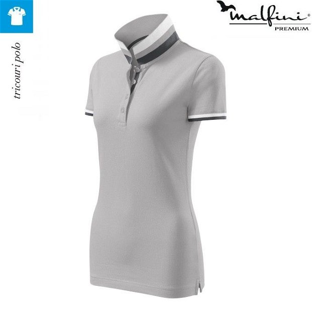 Tricou silver gray polo de dama, Collar Up