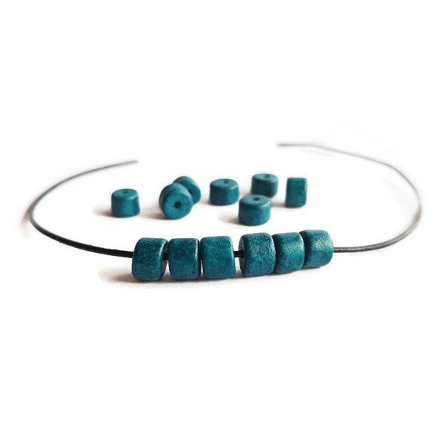 Margele ceramica mata greceasca tub, albastru 6x5mm CERM 007