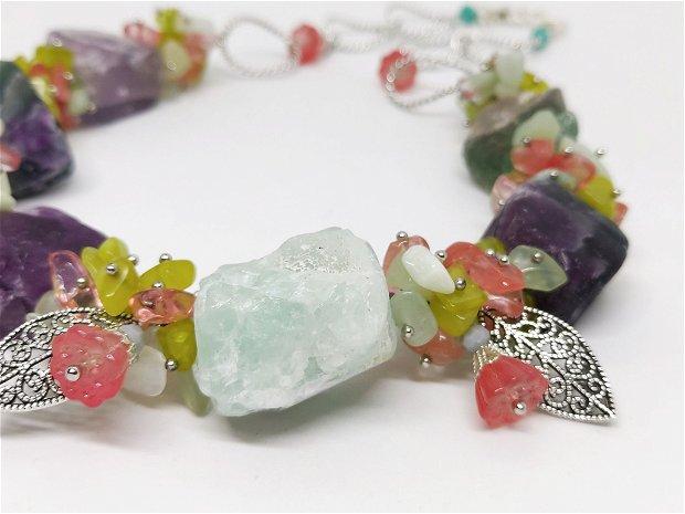 Colier fluorit,jad si cuart cherry cu floricele