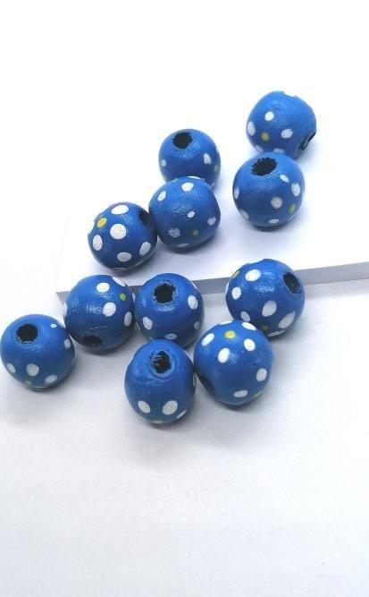 Margele lemn rotunde cu floare pictata 15mm * albastru