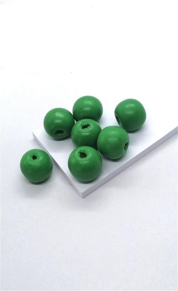 Margele lemn rotunde vopsite uni 15mm * verde
