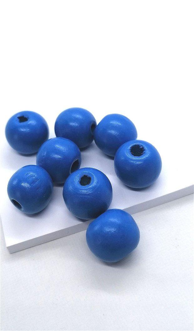 Margele lemn rotunde vopsite uni 15mm * albastru