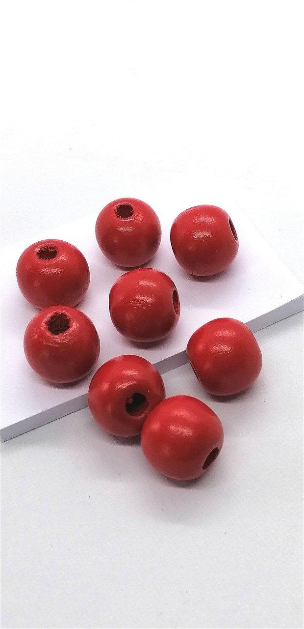 Margele lemn rotunde vopsite uni 15mm * rosu
