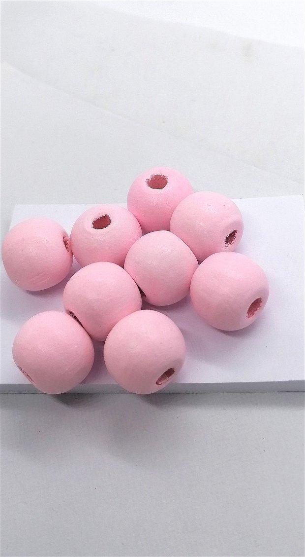 Margele lemn rotunde vopsite uni 15mm * roz