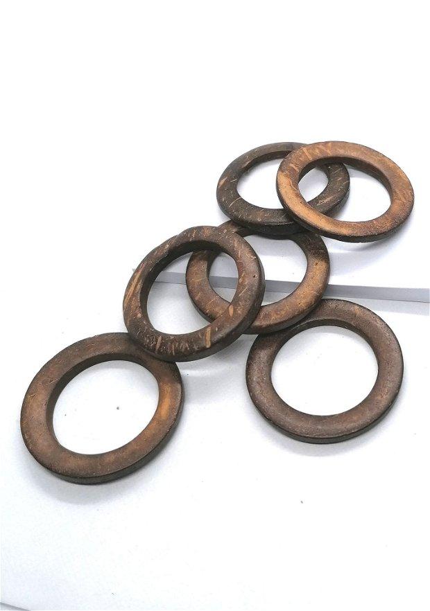 Link conector cerc inel lemn cocos vopsit 35mm * bej portocaliu
