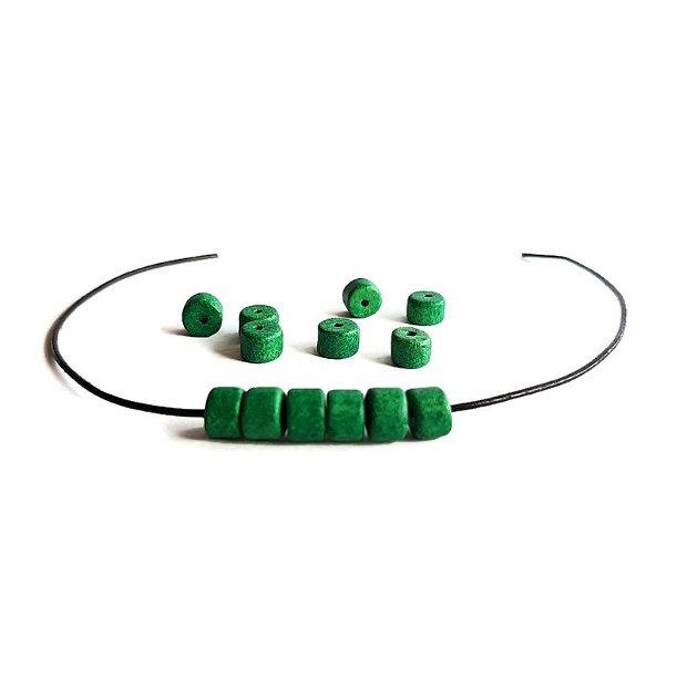 Margele ceramica mata greceasca tub, verde 6x5mm  CERM 008