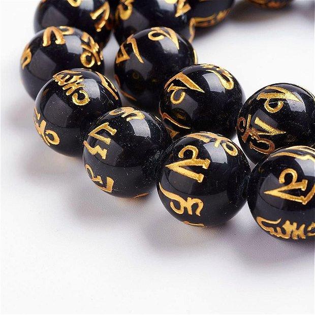 """1buc.DZI-Obsidian sfere 12mm,incrustat cu mantra """"Om Mani Padme Hum"""" SP1021"""