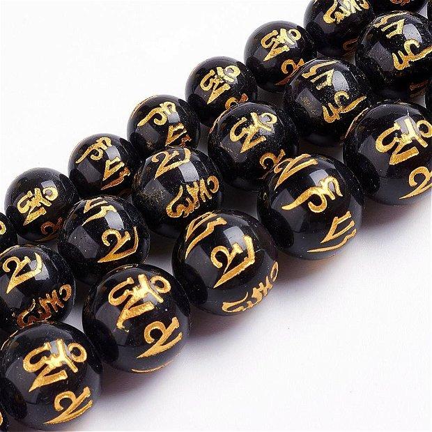 """1buc.DZI-Obsidian sfere 6mm,incrustat cu mantra """"Om Mani Padme Hum"""" SP1020"""