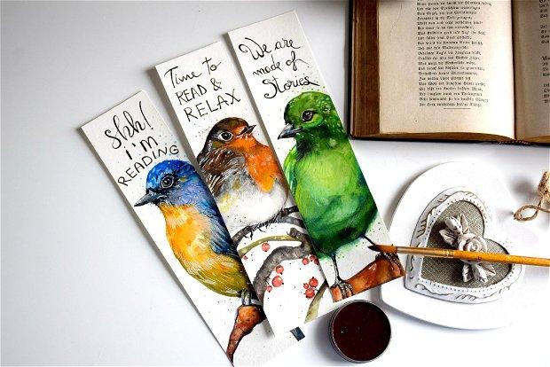 Semne de Carte Pasari, Ilustratii, Carti, Pictura in Acuarela, Cadou Original, Carte - Nature & Colors Collection