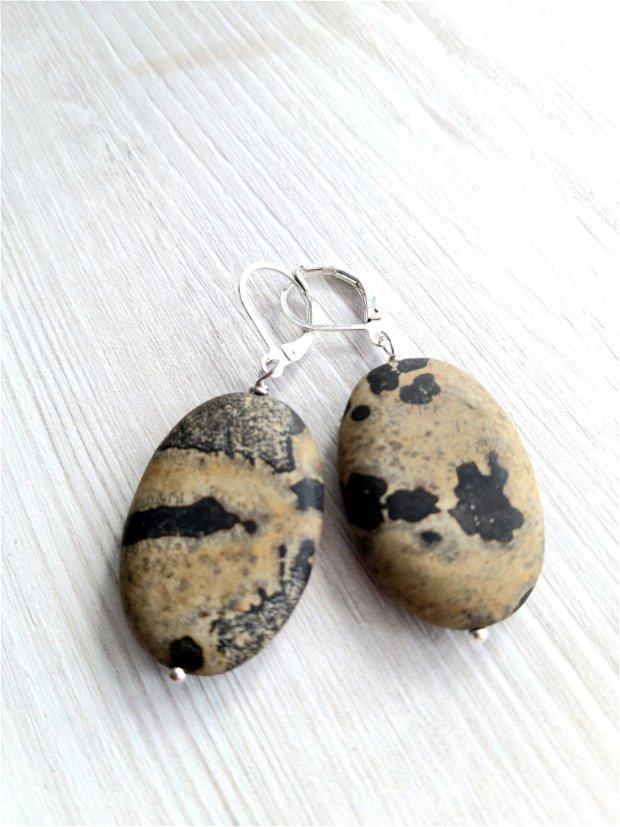 Cercei cu pietre ovale din chohua jasper