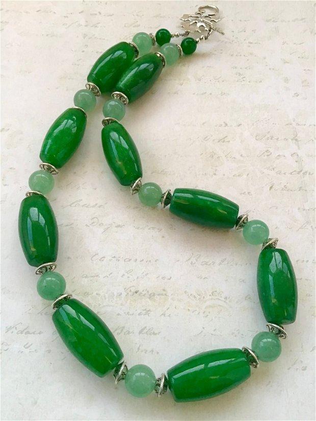 Colier jad verde & aventurin