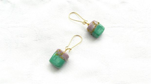 Cercei sticlă lampwork vernil - lila