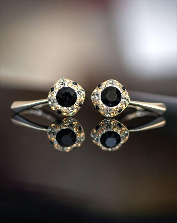 Cercei din argint cu cristale Swarovski Negru și Auriu