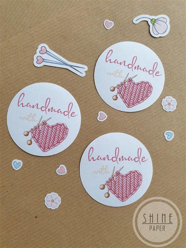 Stickere Handmade with Love pentru produse crosetate