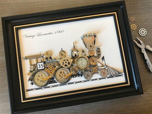 Locomotiva de epoca 1860 Cod M 514, Tablou decorativ din piese de ceas, Arta, Tablou steampunk