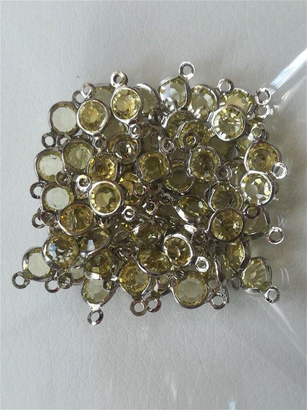 Link argintiu cu cristal LIME, 12x6mm - 1buc