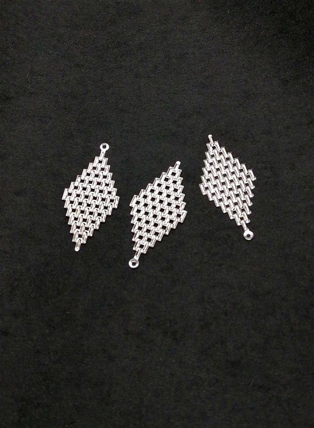 Baza cercei / Pandantiv filigran * argintiu lucios * romb 45mm