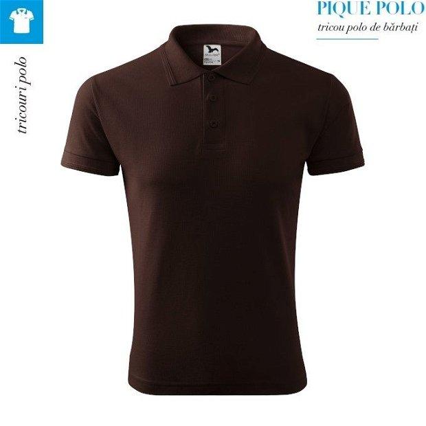 Tricou cafea polo pentru barbati, Pique Polo