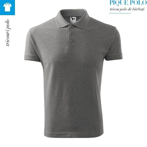 Tricou gri inchis polo pentru barbati, Pique Polo