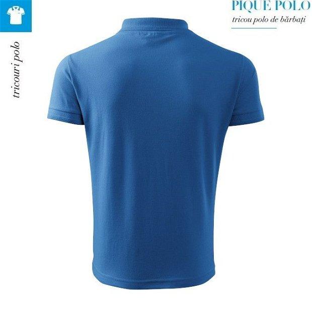 Tricou albastru azuriu polo barbati, Pique Polo