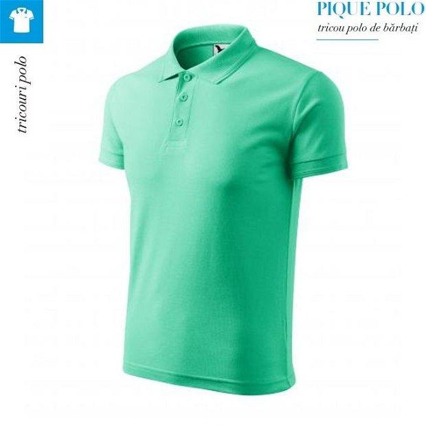 Tricou verde menta polo barbati, Pique Polo