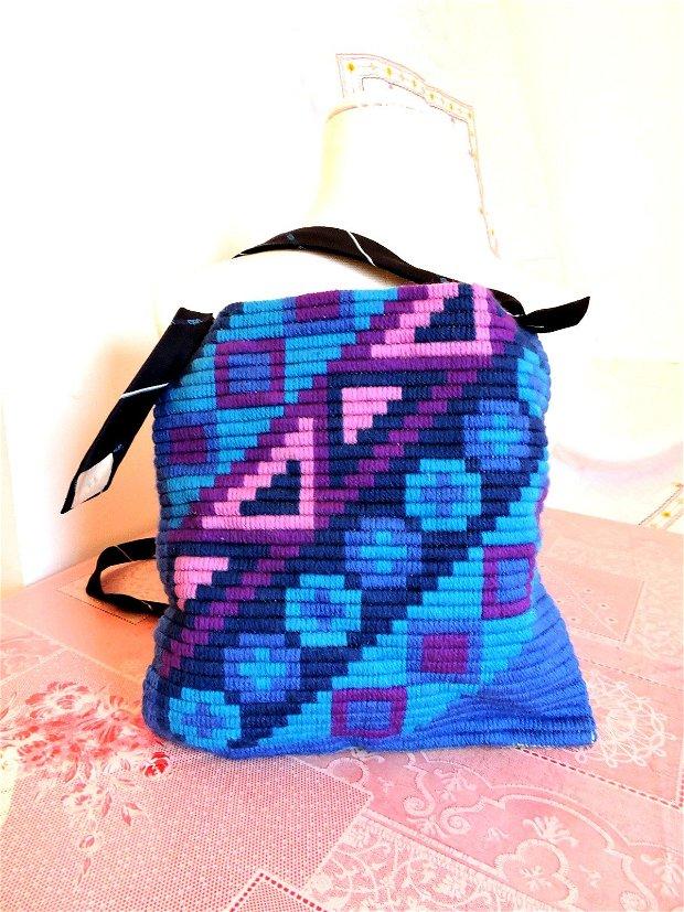 geanta traista albastra cusuta manual