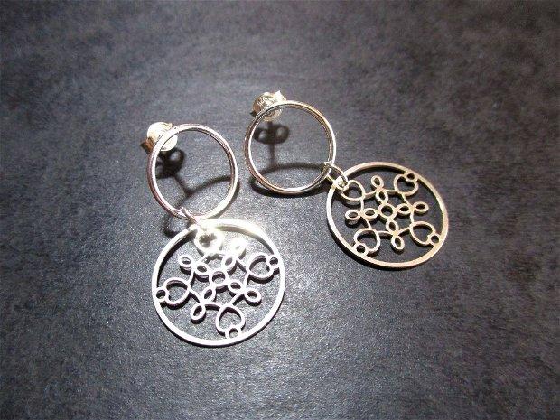 Cercei argint cerculete cu elemente filigranate