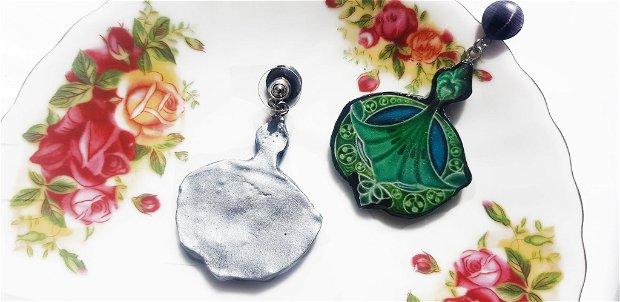 "Cercei Art Nouveau ""Royal Green"" din rasina, Fimo si inox argintiu"