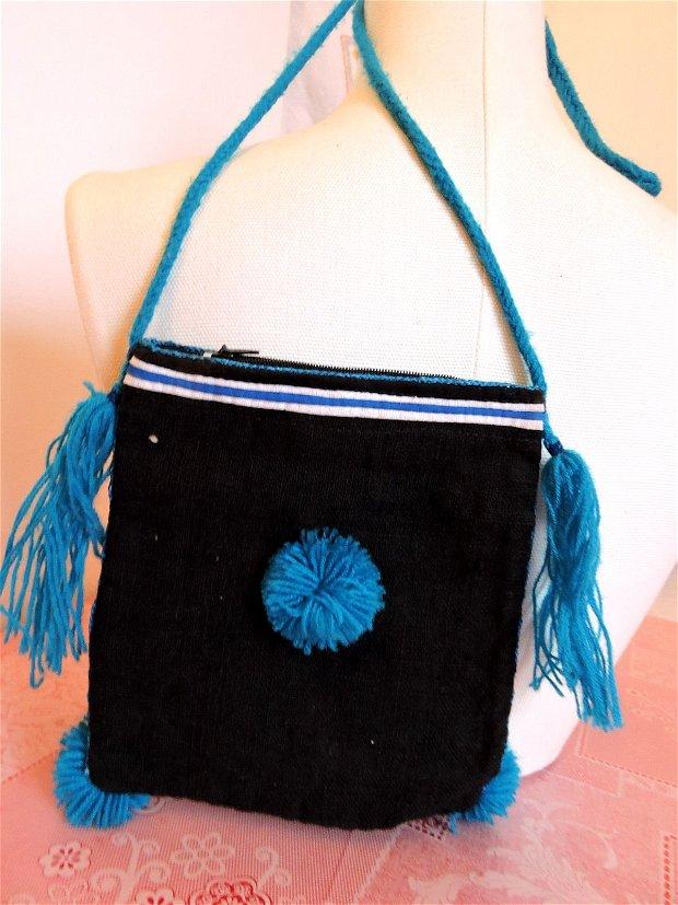 geanta traista neagra cu cusatura manuala colorata