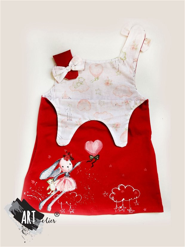 Sarafan copii, pictat manual , rosu cu Papusa-iepuras balerina