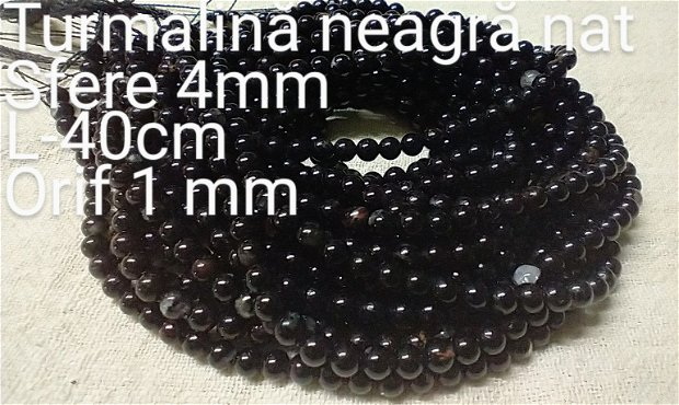 Turmalina neagra natural, 39 cm,