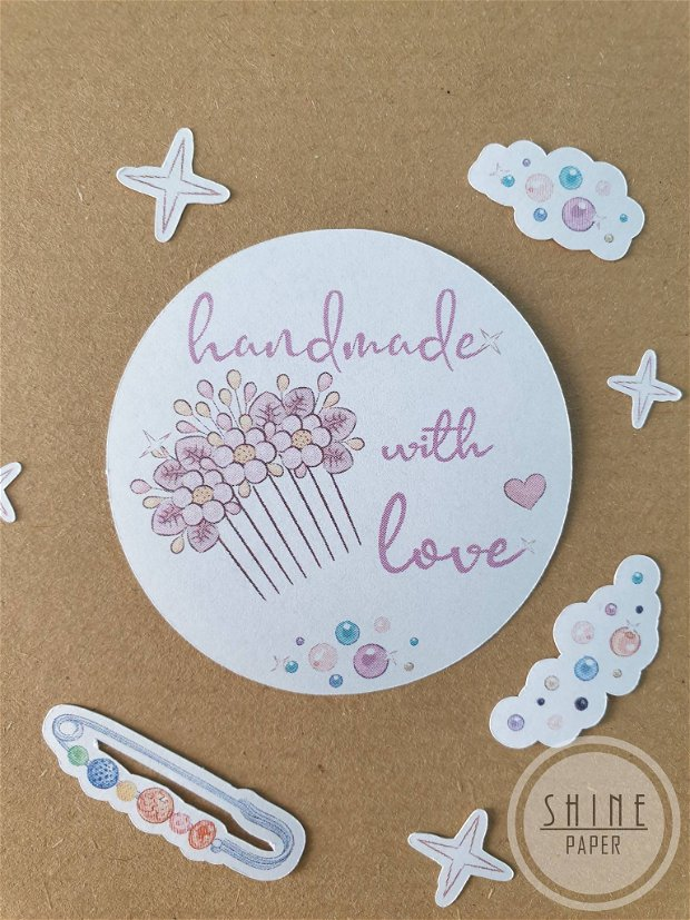 Stickere Handmade with Love pentru bijuterii handmade