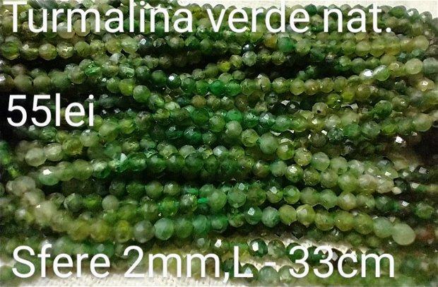 Turmalină verde nat,1 fir