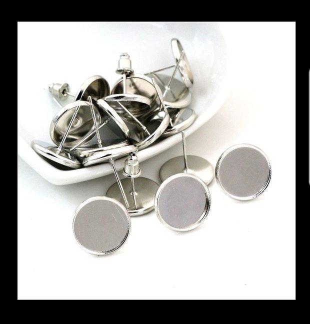 10mm Baze cercei (2 buc), nuanță argintie