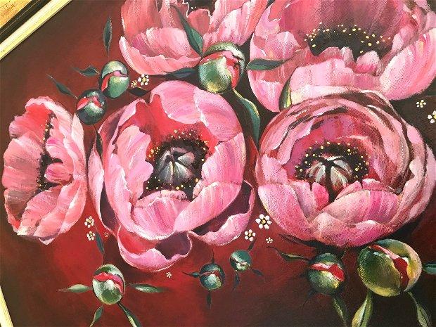 """Tablou """" Bujori"""", pictat manual in culori acrilice, Pictura cu flori"""