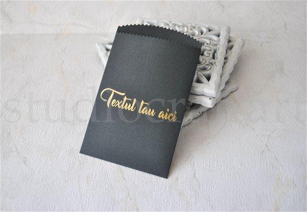 Pliculet negru personalizabil cu text auriu