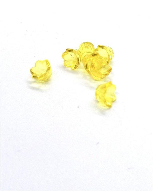 10buc * Clopotel acril transparent flori margele 10mm * galbene
