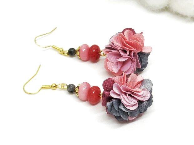 Cercei -floral cu jad