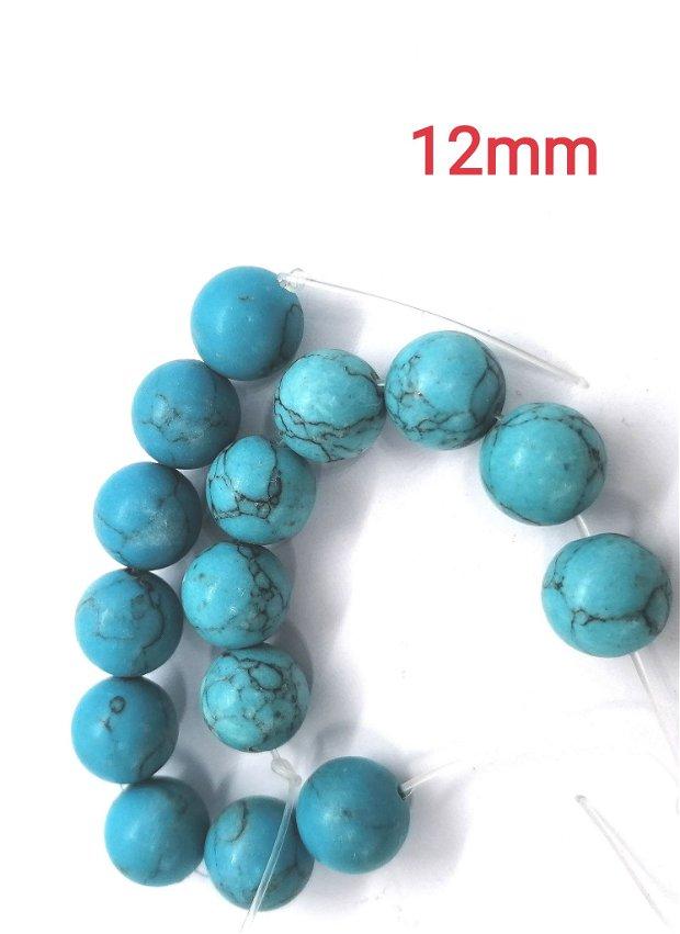 Turcoaz sinteza rotunde albastre margele 12mm