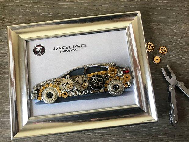Cadouri pentru barbati, Cadouri casa noua, Jaguar Cod M 517, Steampunk Art, Industrial Decor, Vintage Car Print